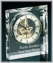 Contemporary Personalized Crystal Clock With Visible Movement