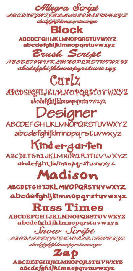 Embroidery Font Selection
