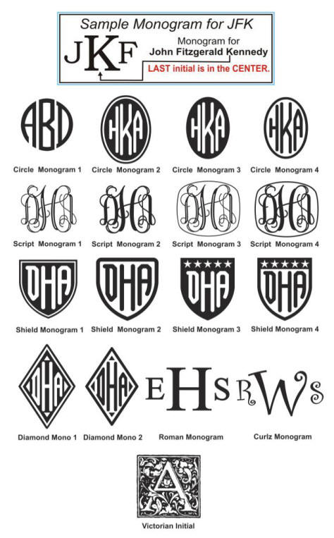 Laser Engraving Monogram Selection