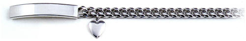 Ladies White Heart Charm ID Bracelet