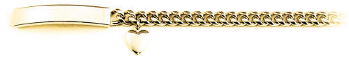 Ladies Yellow Heart Charm ID Bracelet