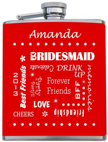 custom printed bridesmaid flask