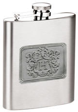 Mirror Finish 8oz. Flask with Pewter Letter Crest