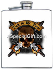 Personalized Skull & Cross Swords Flask