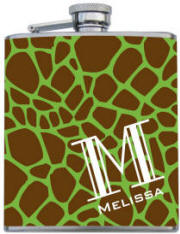 Custom Printed Green Giraffe Monogram Flask