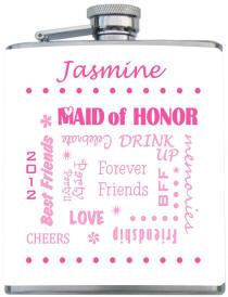 Personalized Wrapped Maid of Honor Flask