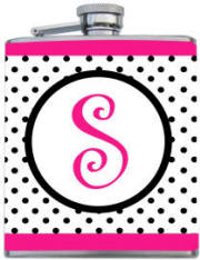 Custom Printed Pink Black Polka Dot Flask