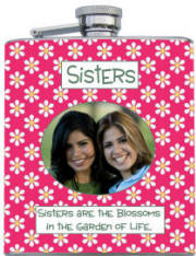Custom Printed Sisters Photo Flask
