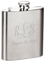 Engraved Satin Finish 8 oz. Stainless Steel Flask