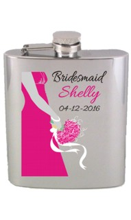 Brushed Printed Bridesmaid or Maid of Honor Flask