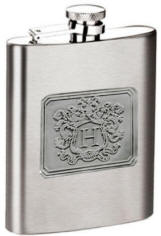 8 oz. Satin Finish Flask with Pewter Letter