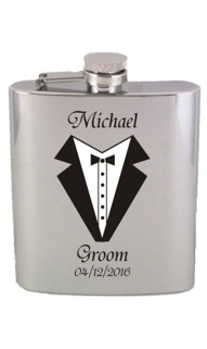 Brushed Printed Grooms, Groomsman or Best Man Flask
