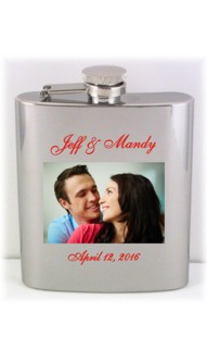 Brushed Printed Photo Flask